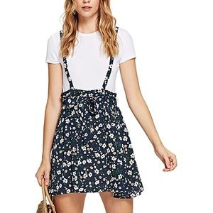 Romwe floral cross cross overall dress